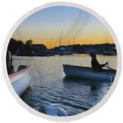 Rowing In Round Beach Towel