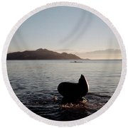 Rowing Off Sausalito, Ca Round Beach Towel
