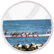Rowing On The Bay Round Beach Towel