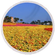 Round Beach Towel featuring the photograph Rows In Bloom by James Kirkikis