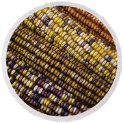 Rows Of Indian Corn Round Beach Towel
