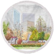 Roxbury Park In Beverly Hills With Century City In The Background, Ca Round Beach Towel