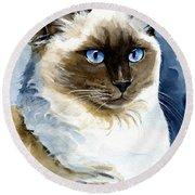 Roxy - Ragdoll Cat Portrait Round Beach Towel