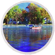 Round Beach Towel featuring the photograph Roy And Boat Fall Fishing by Tom Jelen
