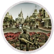 Roy And Minnie Mouse Antique Style Walt Disney World Mp Round Beach Towel