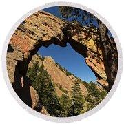 Royal Arch Trail Arch Boulder Colorado Round Beach Towel
