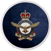 Royal Australian Air Force -  R A A F  Badge Over Blue Velvet Round Beach Towel