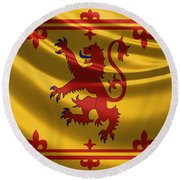 Royal Banner Of The Royal Arms Of Scotland Round Beach Towel