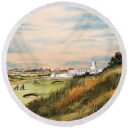 Round Beach Towel featuring the painting Royal Birkdale Golf Course 18th Hole by Bill Holkham