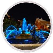 Royal Blue J. C. Nichols Fountain  Round Beach Towel