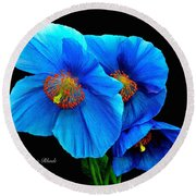 Royal Blue Poppies Round Beach Towel