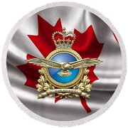 Royal Canadian Air Force Badge Over Waving Flag Round Beach Towel
