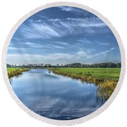 Royal Canal And Grasslands Round Beach Towel