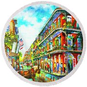 Royal Carriage - New Orleans French Quarter Round Beach Towel