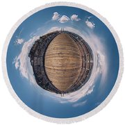 Round Beach Towel featuring the photograph Royal Gorge Bridge Tiny Planet by Chris Bordeleau