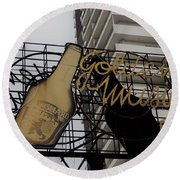 Royal Guard Cerveza And Golden Music Sign Round Beach Towel