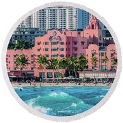 Royal Hawaiian Hotel Surfs Up Round Beach Towel