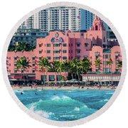 Royal Hawaiian Hotel Surfs Up Round Beach Towel by Aloha Art