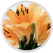 Round Beach Towel featuring the photograph Royal Lilies Full Open - Close-up by Ray Shrewsberry