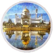 Royal Mosque  Round Beach Towel