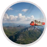 Round Beach Towel featuring the digital art Royal Navy Sar Sea King by Pat Speirs