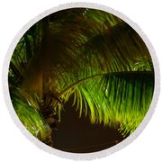 Royal Palm Night Out Round Beach Towel