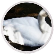 Royal Swan Round Beach Towel