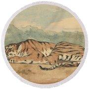Royal Tiger Round Beach Towel
