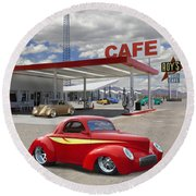 Roy's Gas Station - Route 66 2 Round Beach Towel