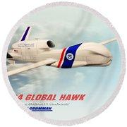 Rq4 Global Hawk Drone United States Round Beach Towel