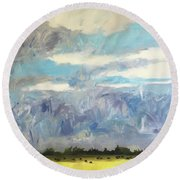 Round Beach Towel featuring the painting rrr by Chris Gholson
