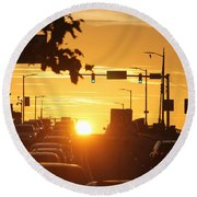 Round Beach Towel featuring the photograph Rte 50 Bridge At Sunset by Robert Banach