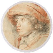 Rubens's Son Nicolaas Wearing A Red Felt Cap Round Beach Towel