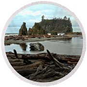 Ruby Beach Driftwood Round Beach Towel