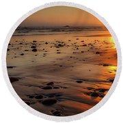 Ruby Beach Sunset Round Beach Towel