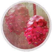 Ruby Colored Orchid Round Beach Towel