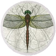 Ruby Meadowhawk Dragonfly Round Beach Towel by Charles Harden