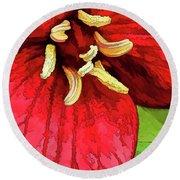 Ruby Red Trillium Round Beach Towel