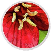 Ruby Red Trillium Round Beach Towel