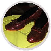 Ruby Slippers On The Yellow Brick Road Round Beach Towel