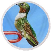Ruby Throat Hummingbird  Round Beach Towel