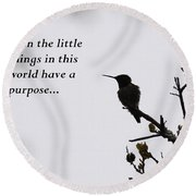 Ruby-throated Hummingbird - Little Things Round Beach Towel