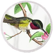 Ruby-throated Hummingbird Round Beach Towel