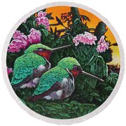 Round Beach Towel featuring the painting Ruby-throated Hummingbirds by Michael Frank