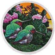 Ruby-throated Hummingbirds Round Beach Towel