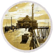 Ruby's At The Pier Round Beach Towel by Everette McMahan jr