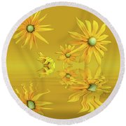 Round Beach Towel featuring the photograph Rudbekia Yellow Flowers by David French