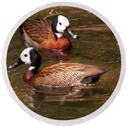 Round Beach Towel featuring the digital art White-faced Whistling Duck by Chris Flees