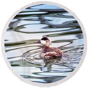 Ruddy Duck Swiimming In A Pond With Autumn Reflections Round Beach Towel