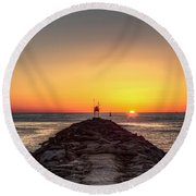 Rudee Inlet Jetty Round Beach Towel